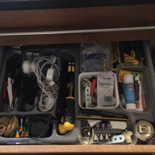 Organised junk drawer